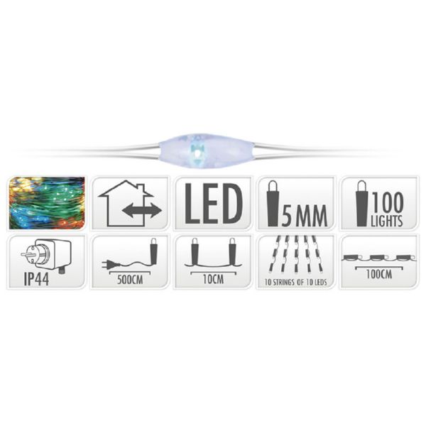 ALAMBRE COLOR PLATA 100 LED 100CM MULTIC
