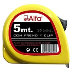 FLEXOMETRO ALFA FRENO Y  CLIP 5M 19mm AMARILLO